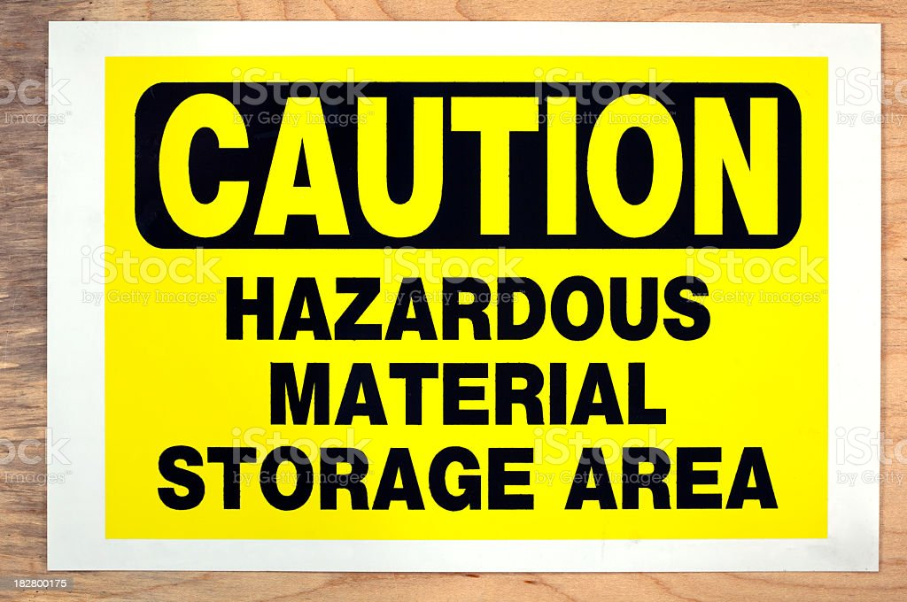 Yellow and black caution sign on wooden wall royalty-free stock photo