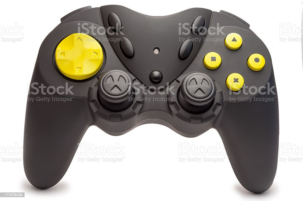 A yellow and black game remote stock photo