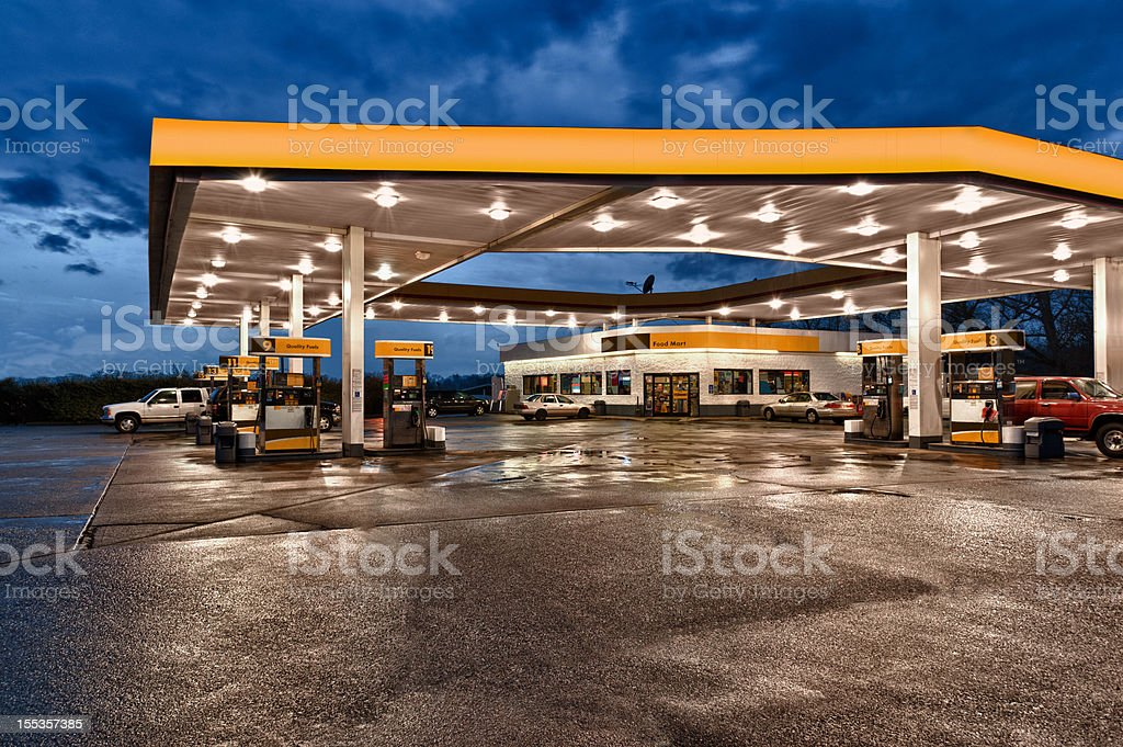 Yellow and Black Gasoline Station Convenience Store stock photo