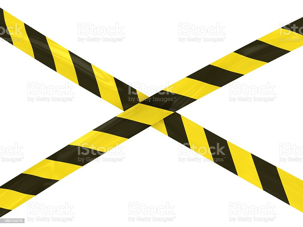 Yellow and Black Striped Barrier Tape stock photo