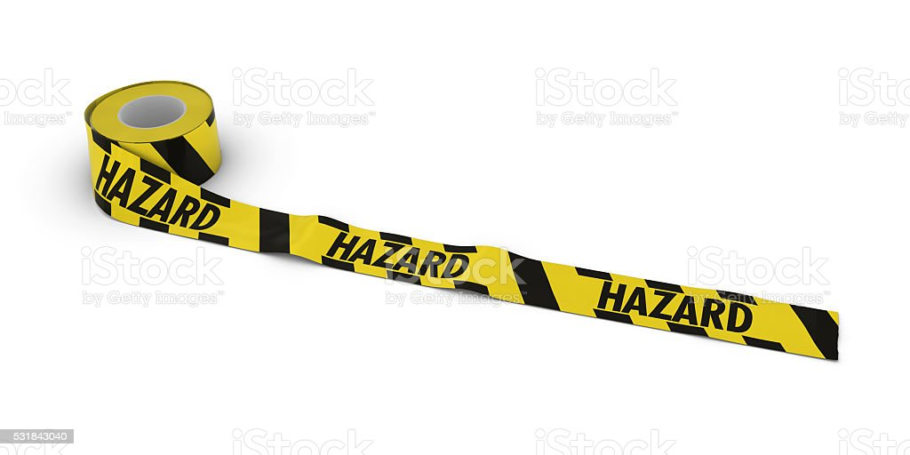 Yellow and Black Striped Hazard Tape Roll unrolled across white stock photo