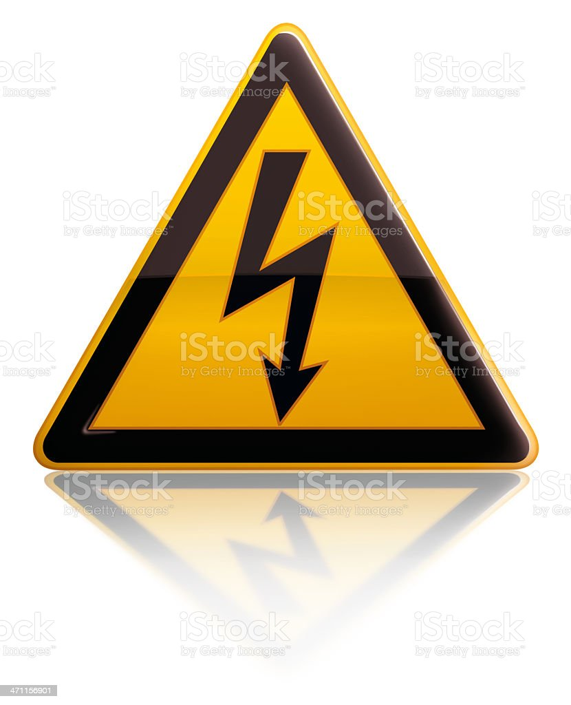 Yellow and blank triangular high voltage sign stock photo