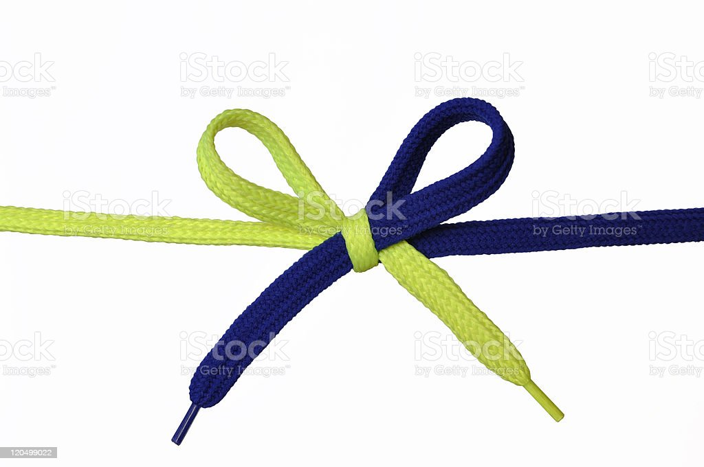 Yellow and Blue shoelace stock photo