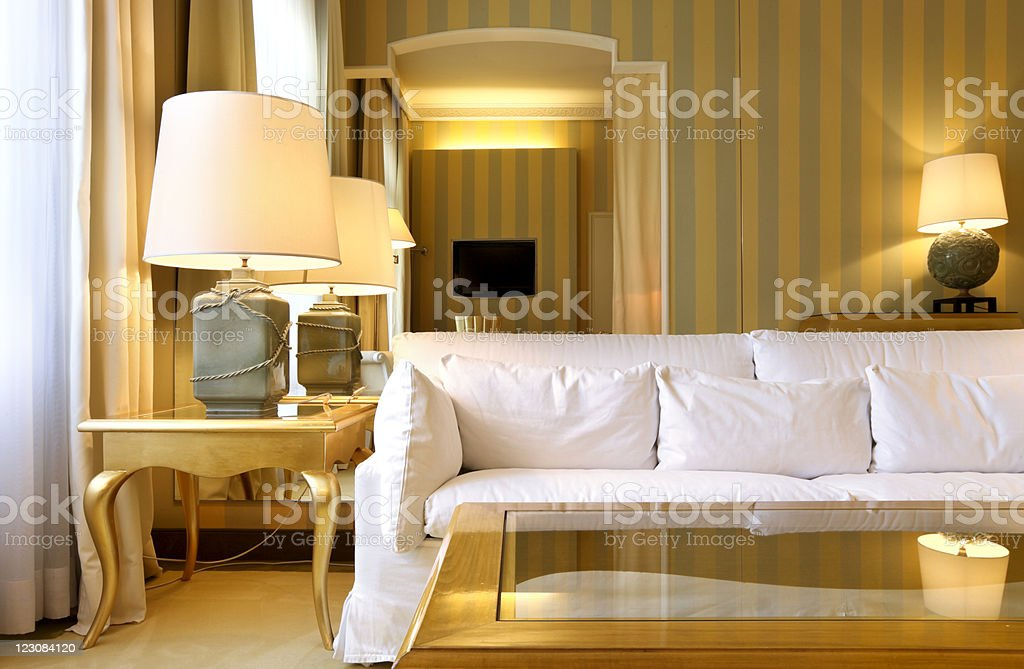 Yellow and gray striped walls in a modern room royalty-free stock photo