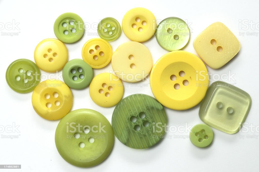 Yellow and Green Buttons on White royalty-free stock photo