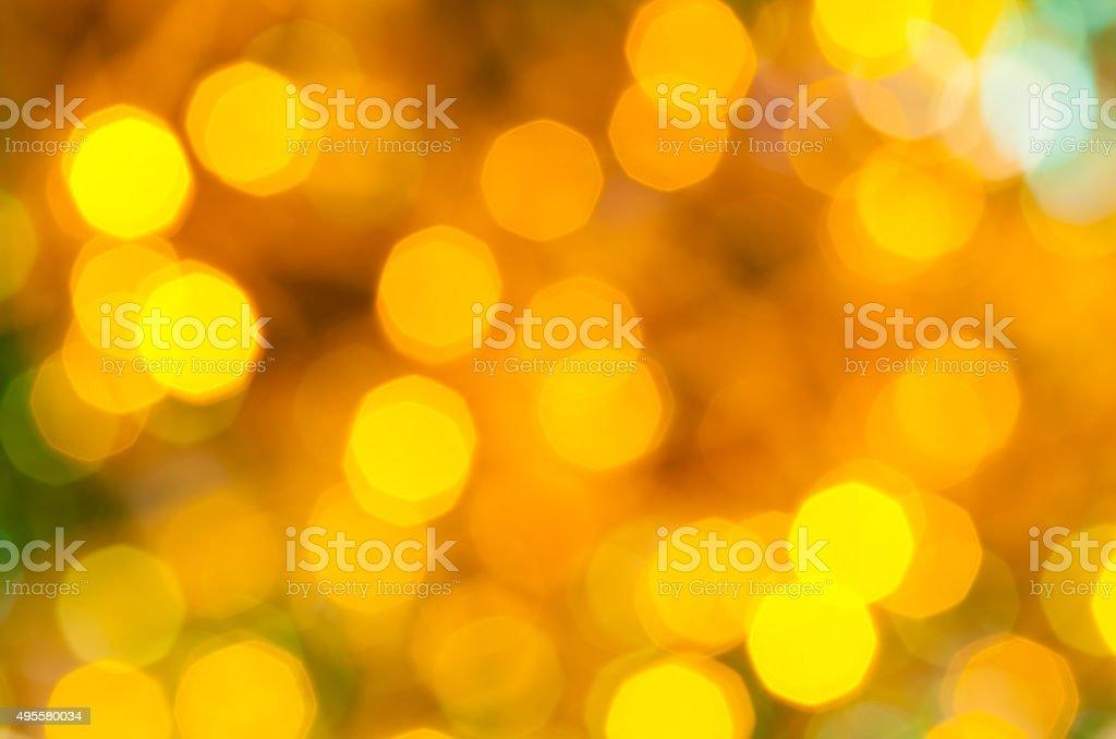 yellow and green dark flickering Christmas lights stock photo