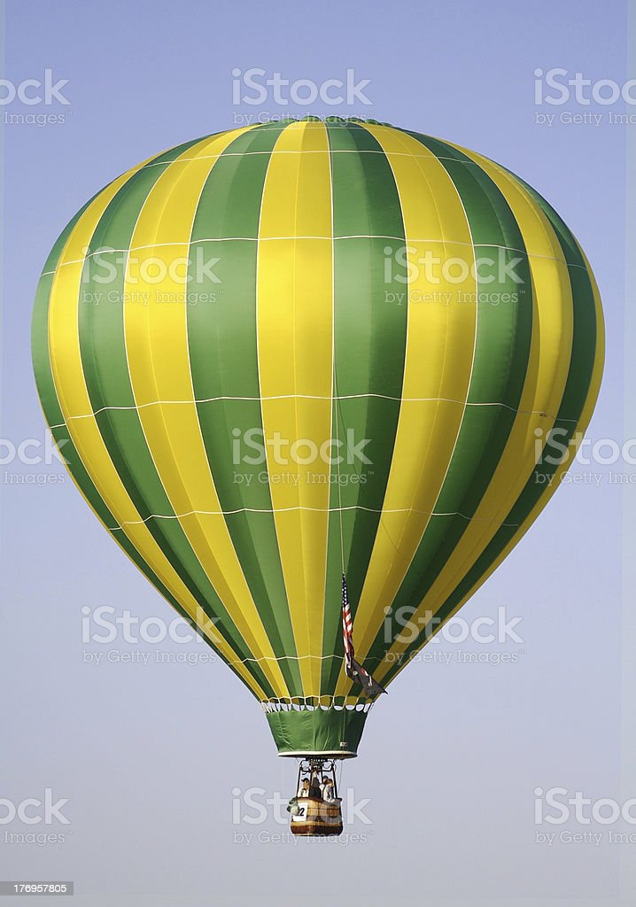 Yellow and Green Hot Air Balloon stock photo