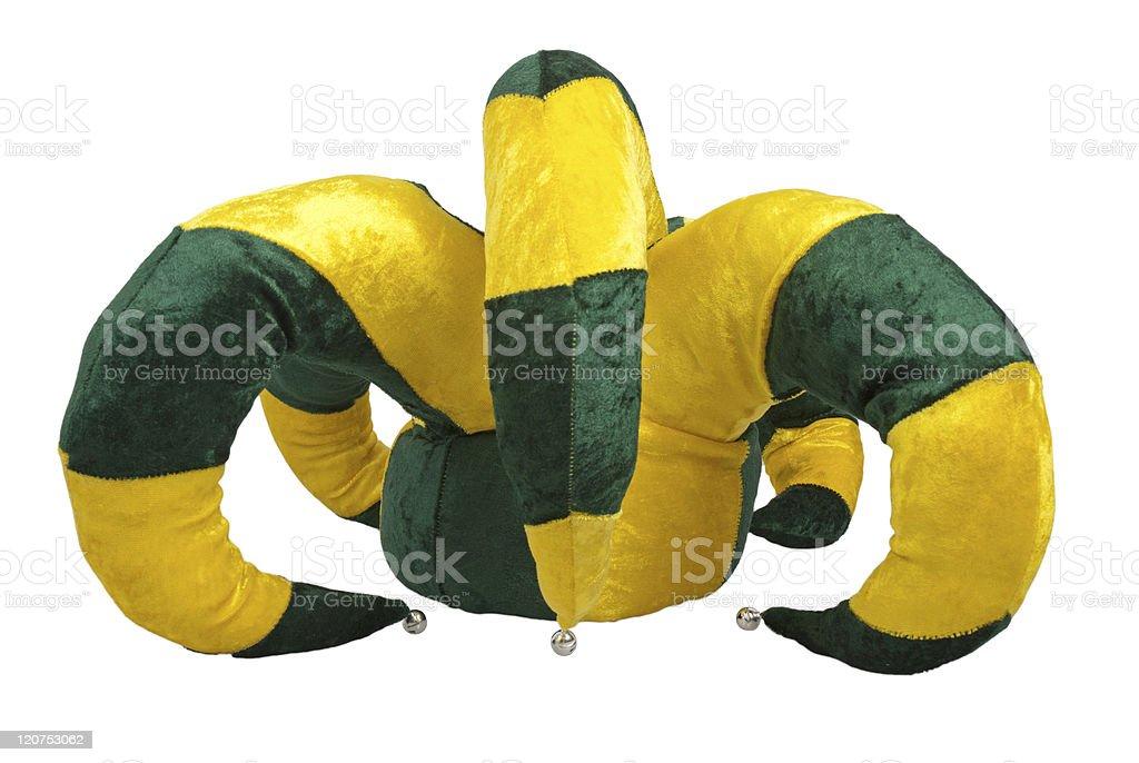 Yellow and green joker hat stock photo