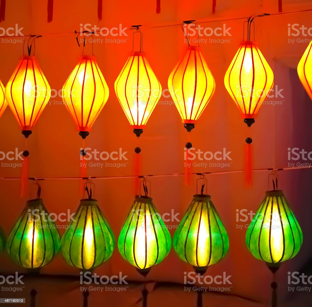 Yellow and green light lanterns royalty-free stock photo