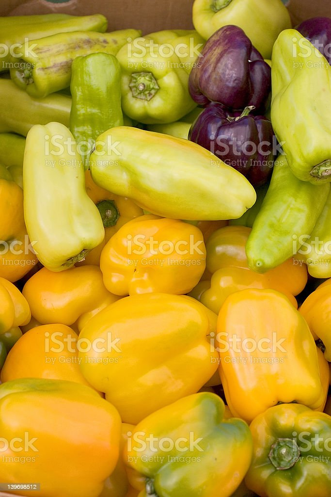 Yellow and Green Peppers royalty-free stock photo