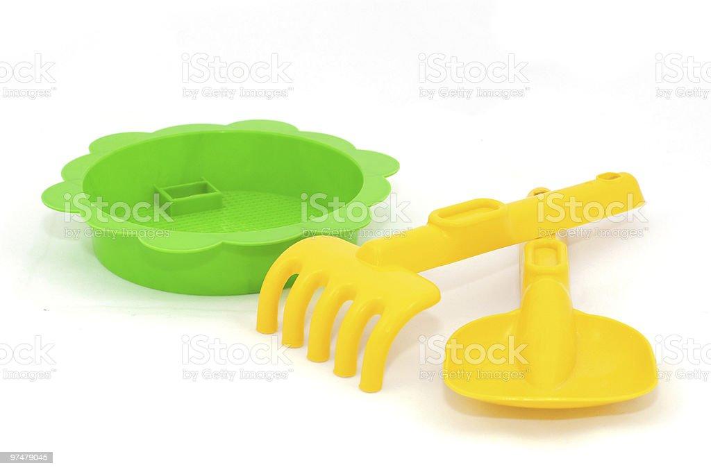 Jaune et vert Bac à sable jouets photo libre de droits