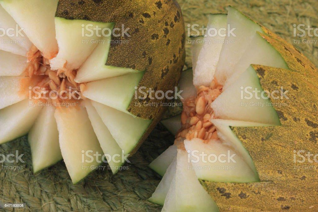 Melon tacheté Jaune et Vert stock photo