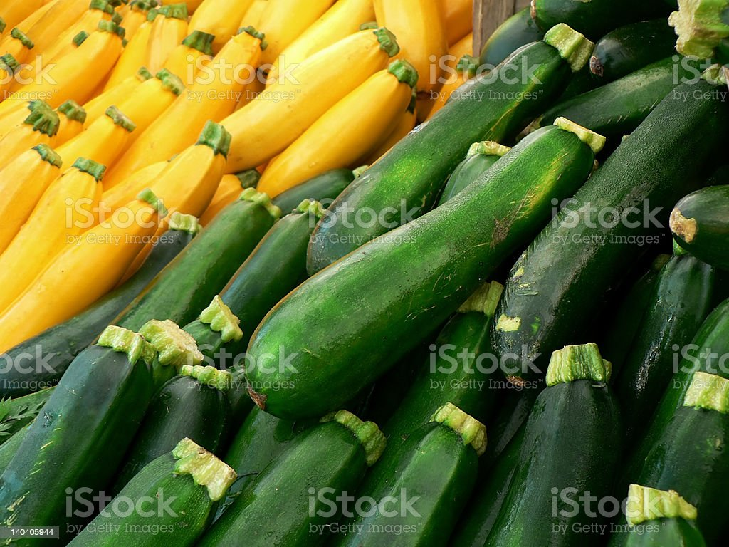 Yellow and green squash stock photo