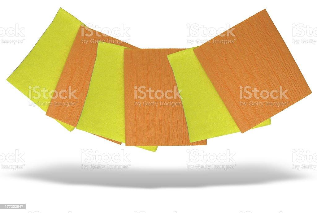 Amarelo e laranja guardanapos isolados sobre fundo branco foto de stock royalty-free
