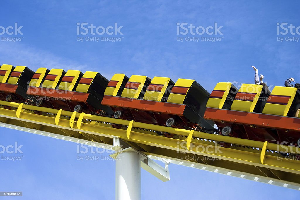 Yellow and Orange Roller coaster stock photo