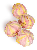 Yellow and pink marshmallow in the row