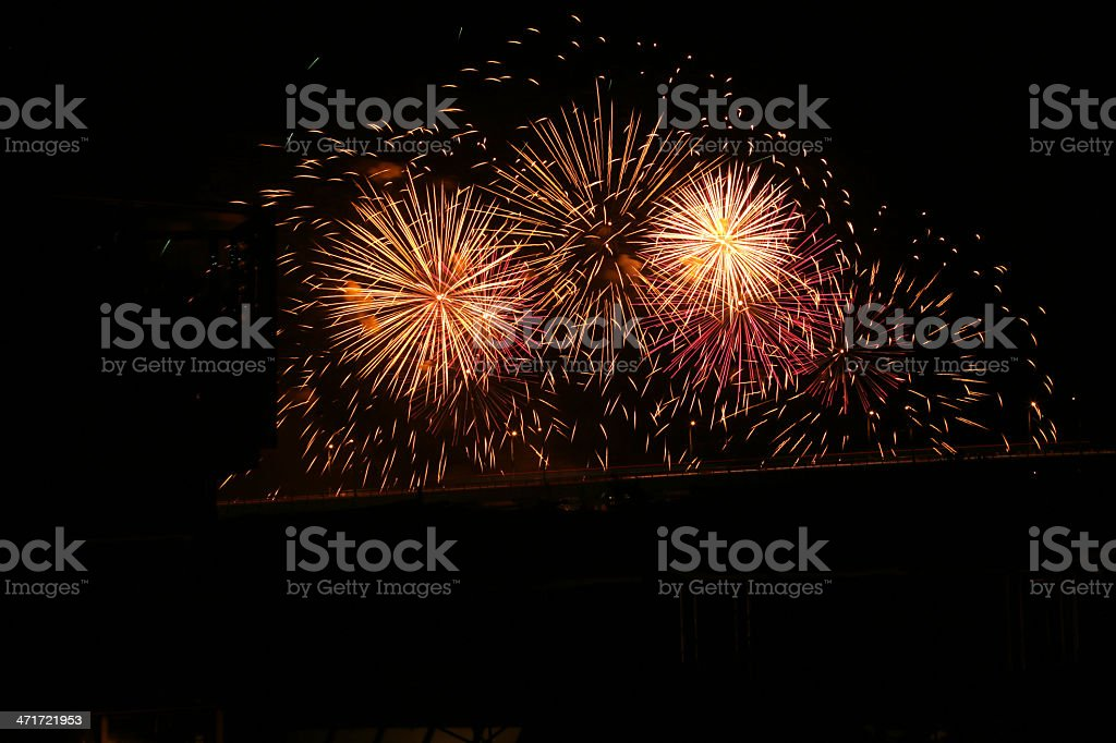 Yellow and Pink Summer Fireworks over Vancouver, British Columbia, Canada royalty-free stock photo
