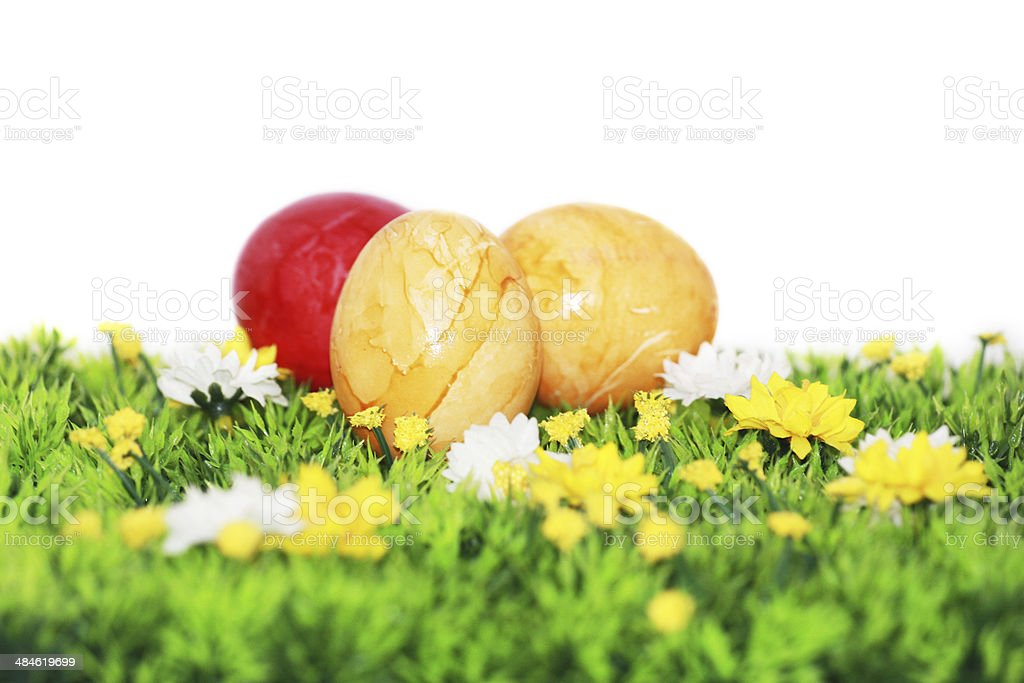 Yellow and red Easter eggs stock photo