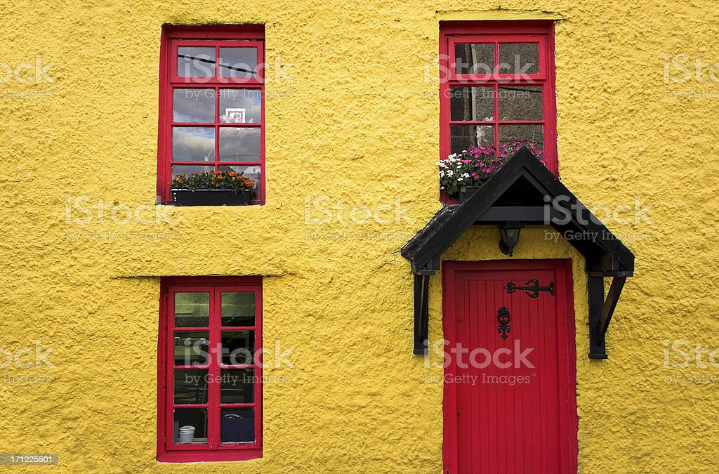 Yellow  and red house royalty-free stock photo