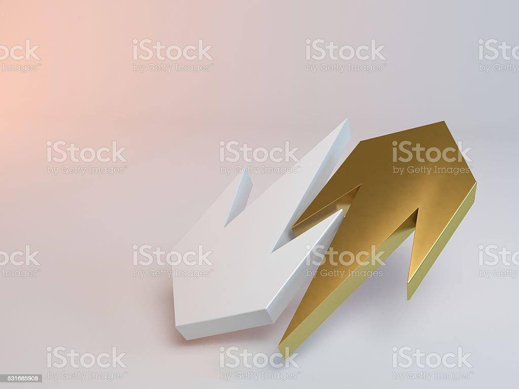 yellow and white 3d arrows stock photo