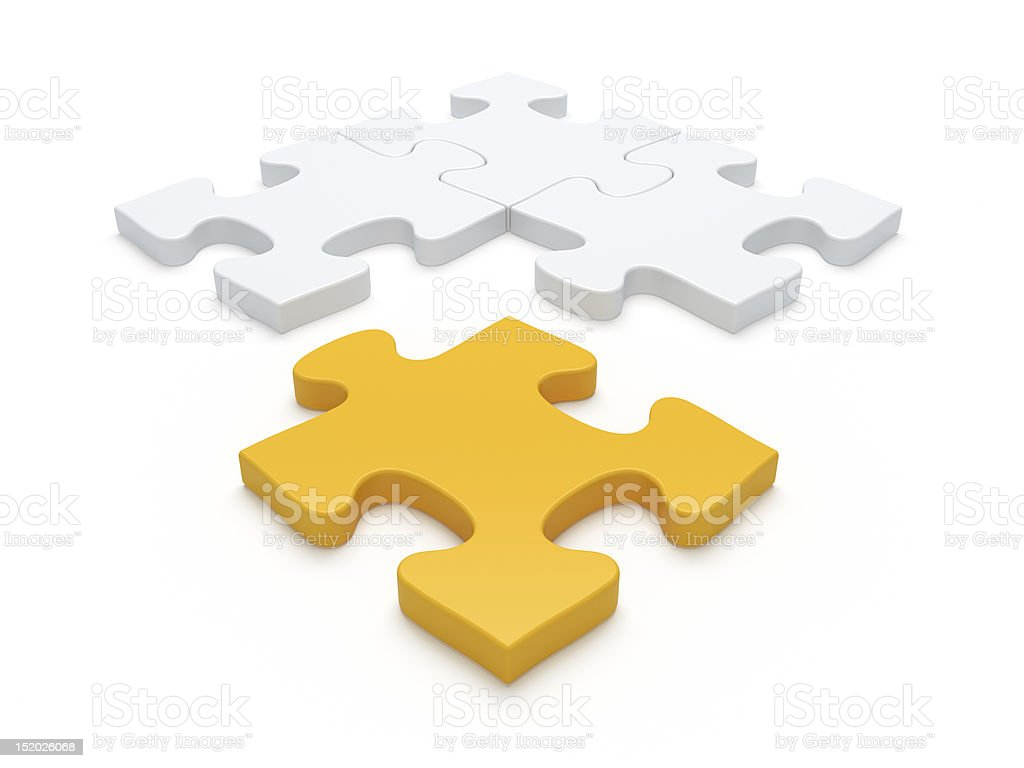 Yellow and white 3D jigsaw pieces stock photo