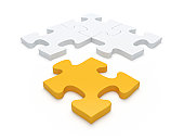 Yellow and white 3D jigsaw pieces