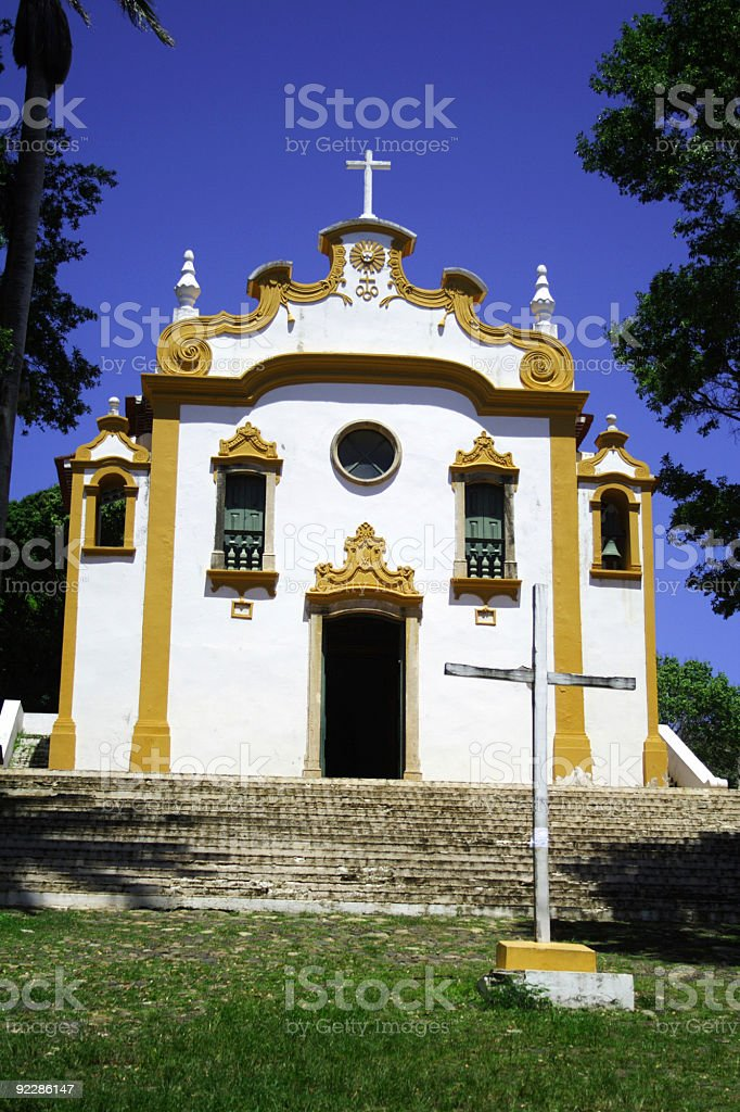 Yellow and White Church royalty-free stock photo
