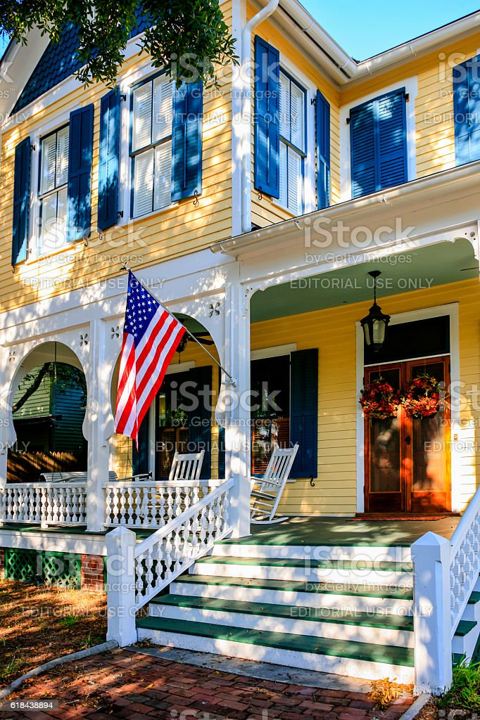 Yellow and white painted home in Fernandina Beach City, Florida stock photo