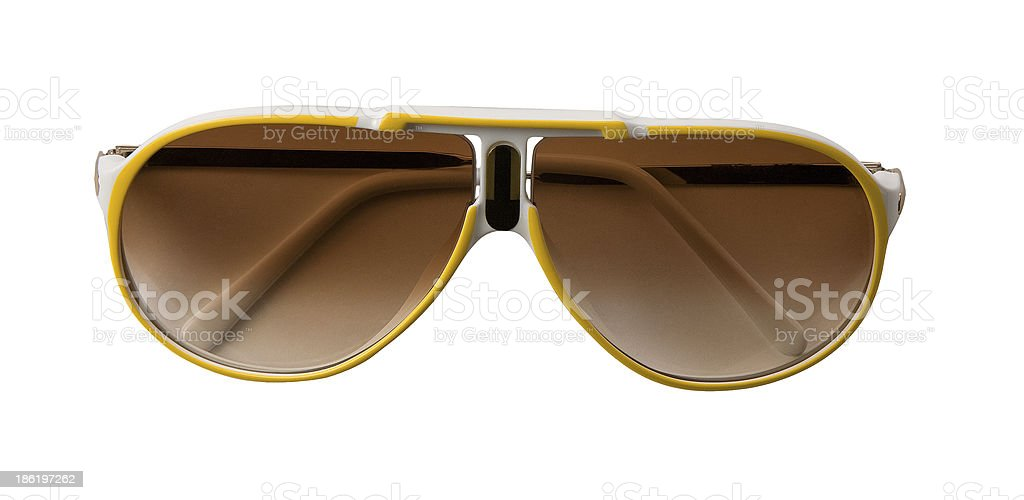 Yellow and white rimmed sportive sunglasses stock photo