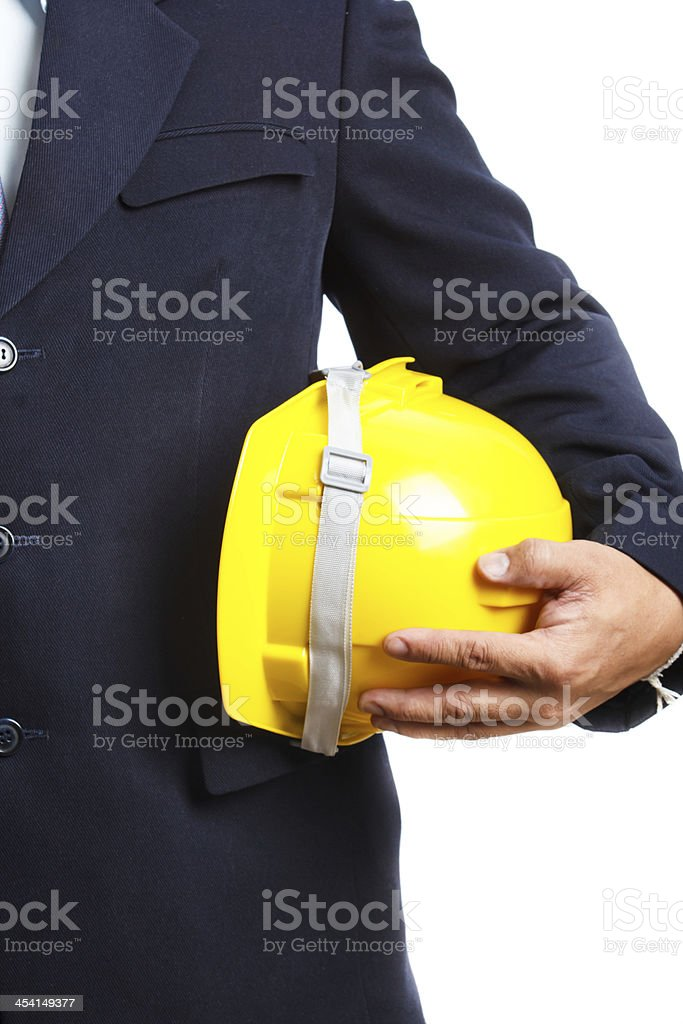 yellow anti-knock helmet royalty-free stock photo