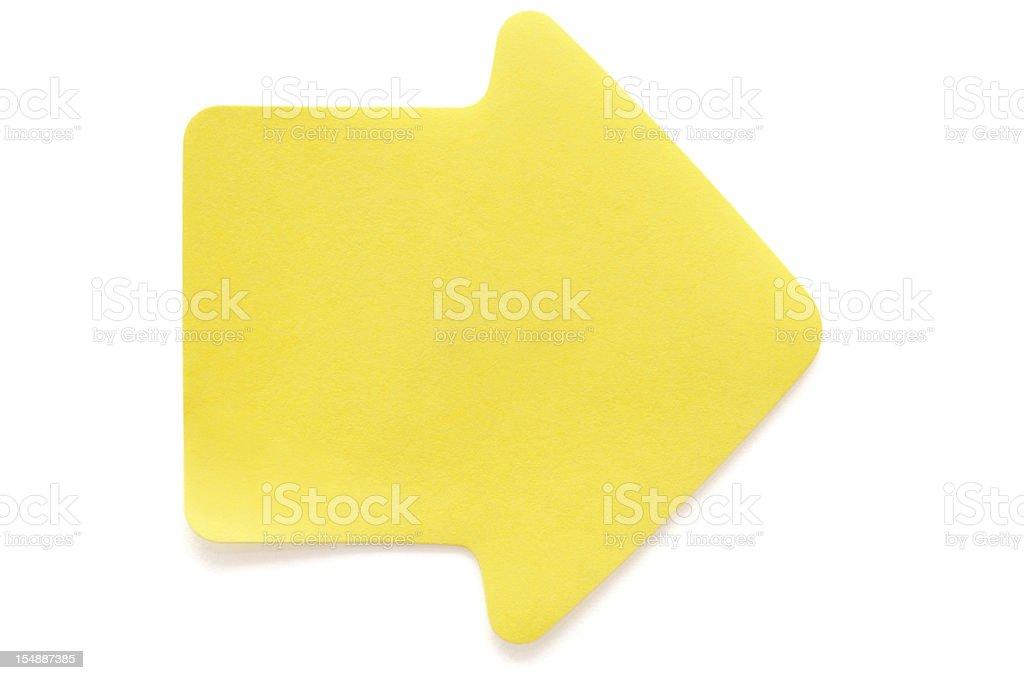 Yellow arrow postit note on white stock photo