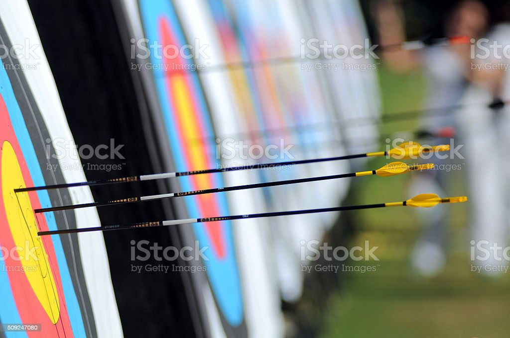 yellow arrows stock photo