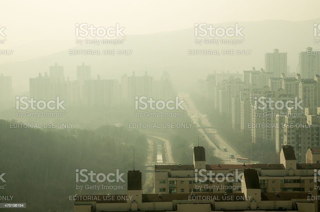 Yellow Asian Dust in South Korea stock photo