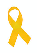 Yellow Awareness Ribbon with CLIPPING PATH