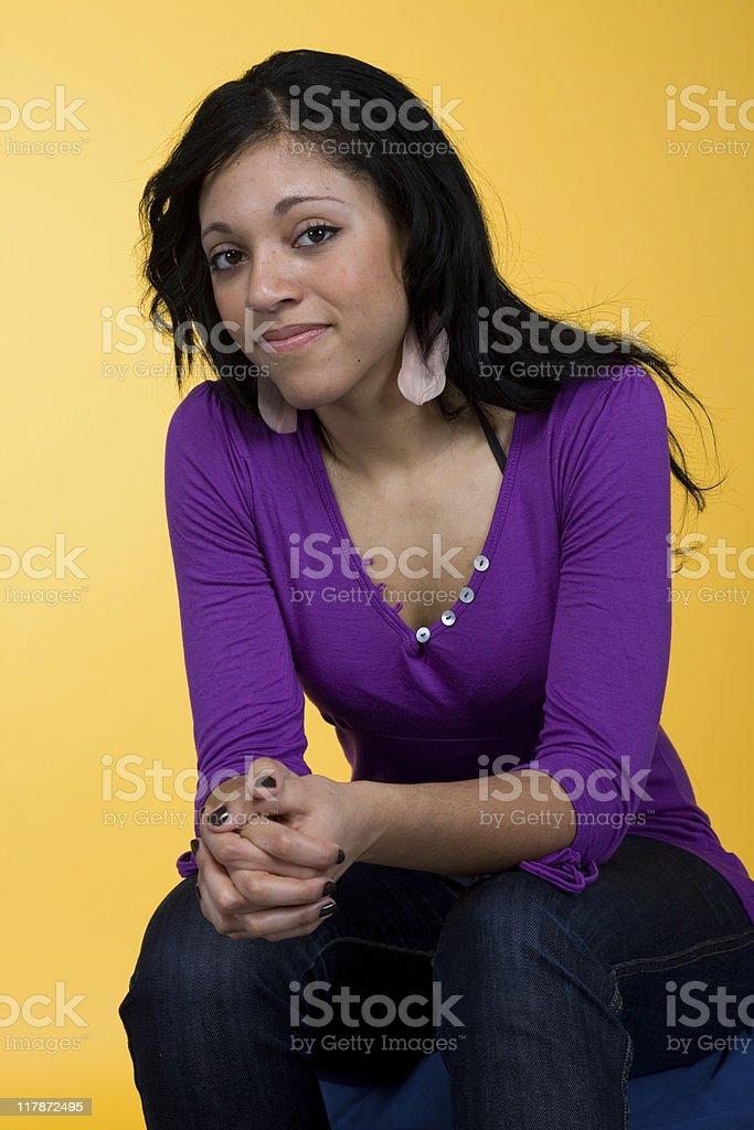 Yellow Background Portrait Series stock photo