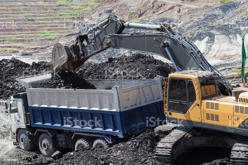 yellow backhoe work in coalmine stock photo