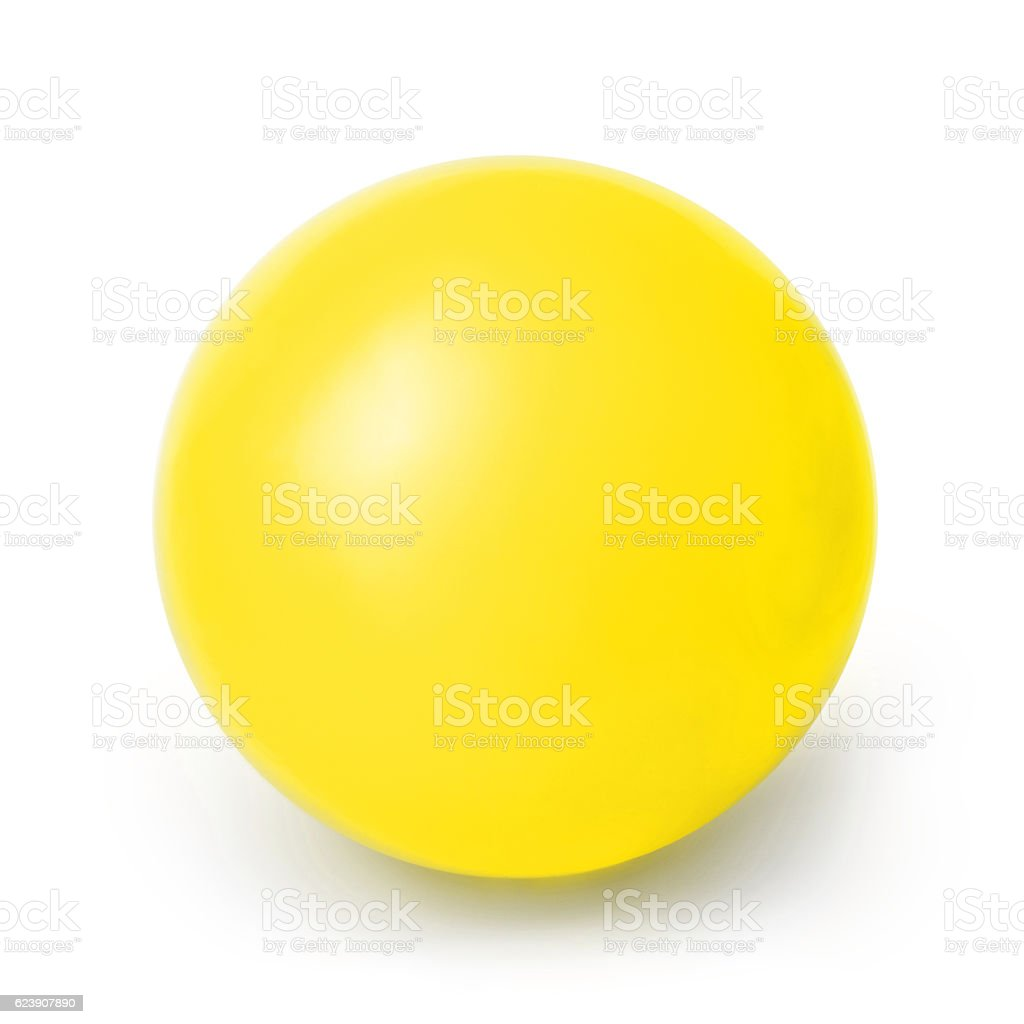 Yellow ball isolated on a White background stock photo