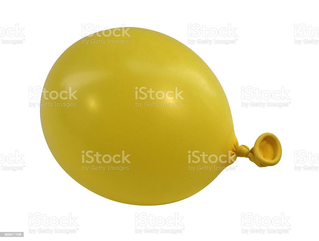 yellow balloon sideways stock photo