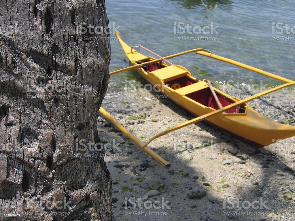 yellow banka outrigger canoe philippines royalty-free stock photo