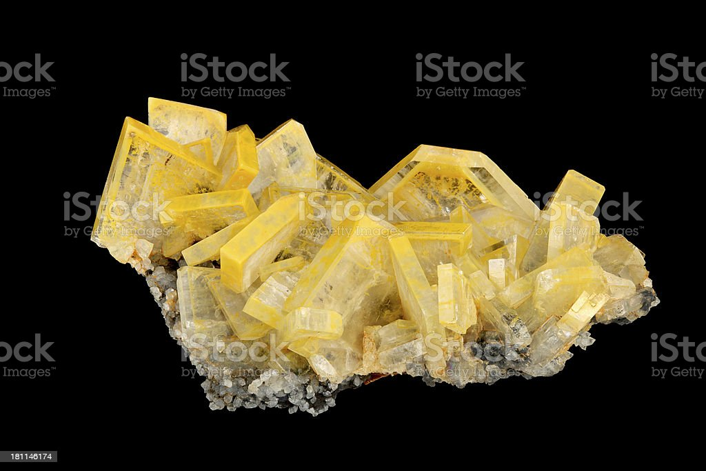 Yellow barite cristals stock photo