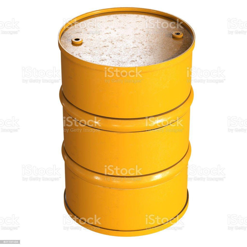yellow barrel isolated on white stock photo