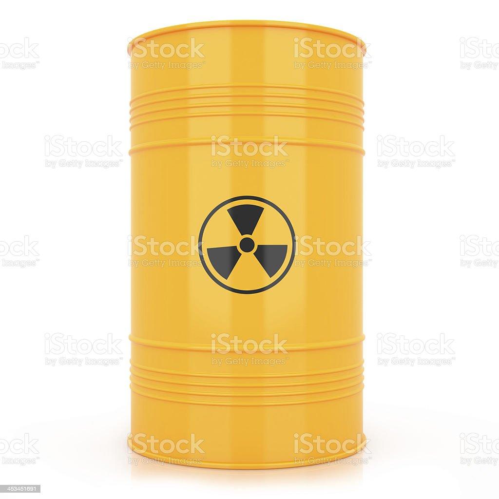 Yellow barrel with radioactive waste stock photo