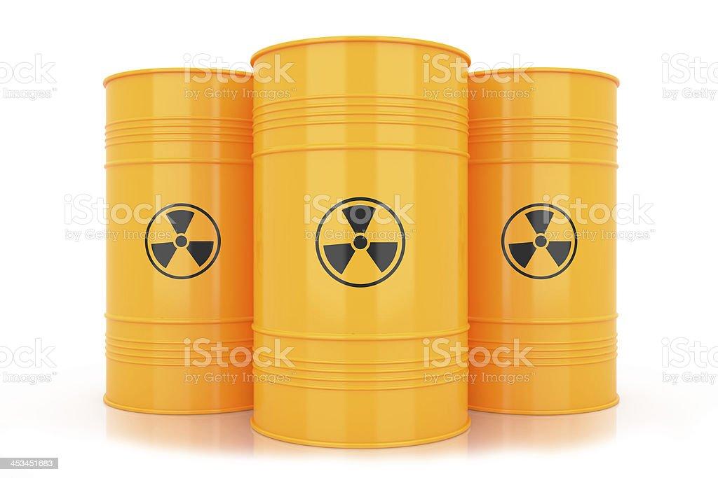 Yellow barrels with radioactive waste stock photo