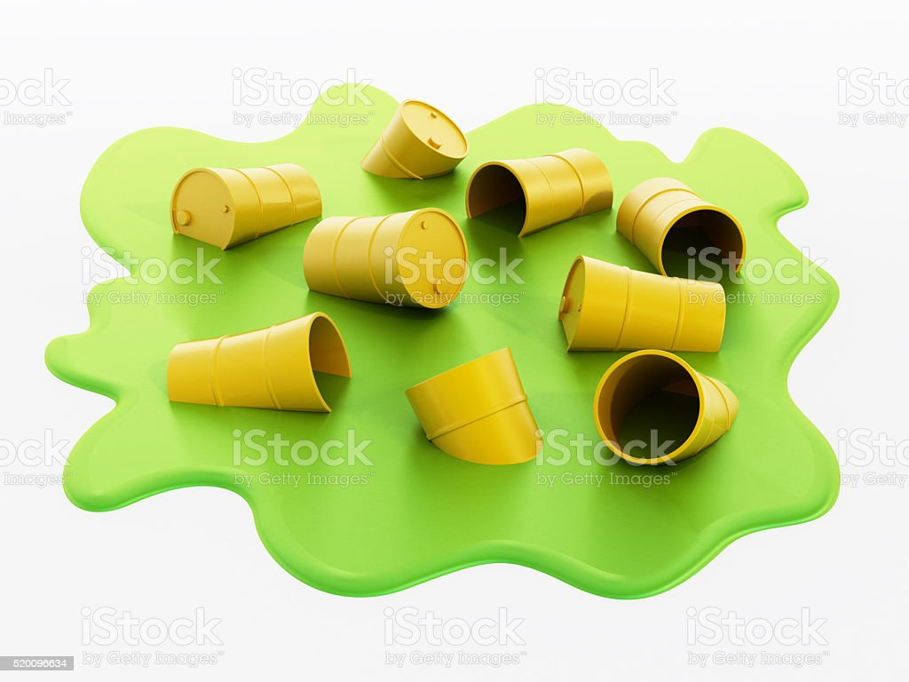 Yellow barrels with toxic substance polluting the water stock photo