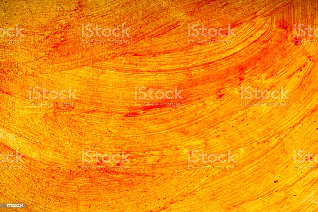 Yellow Base Red Curvy Brush Strokes Paper Background stock photo