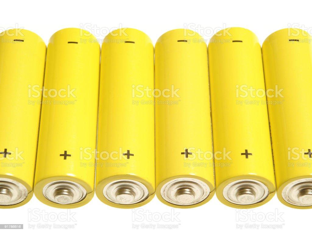 Yellow batteries royalty-free stock photo