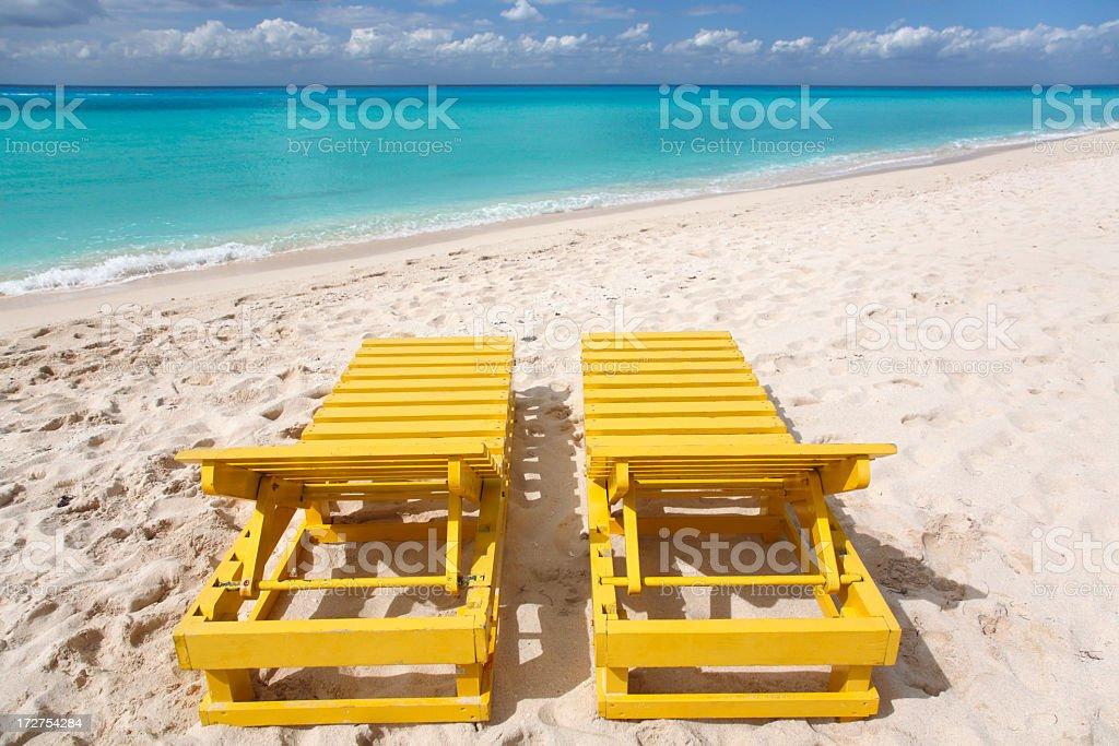 yellow beach chairs royalty-free stock photo