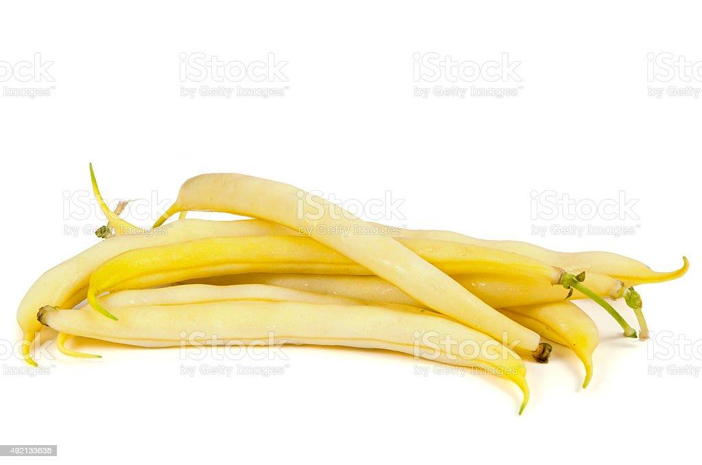 Yellow beans on white background stock photo