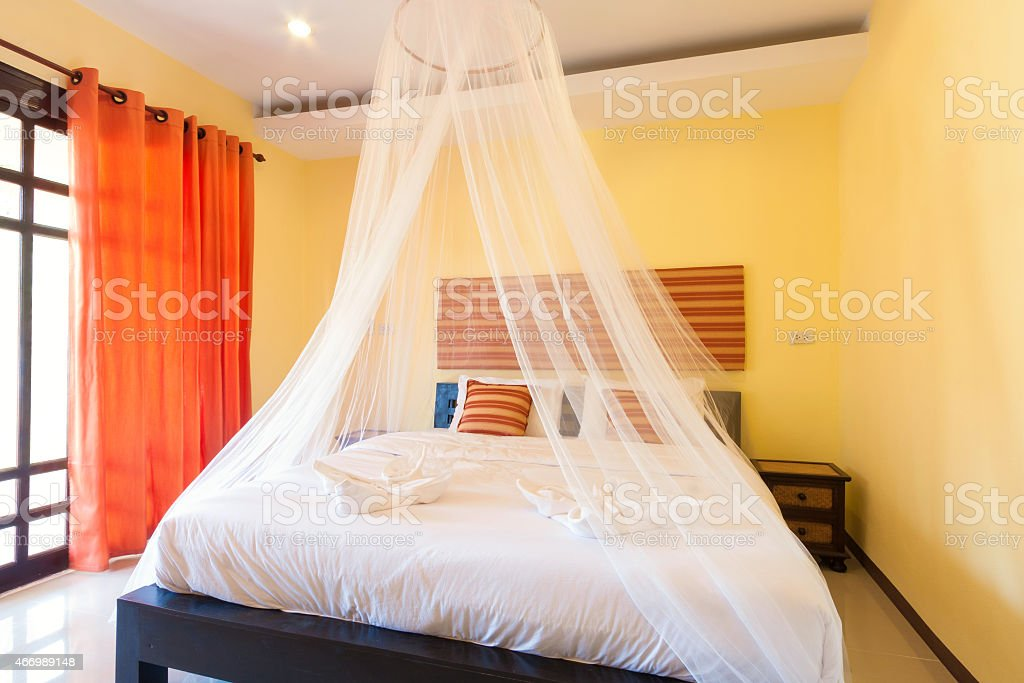 yellow bedroom stock photo