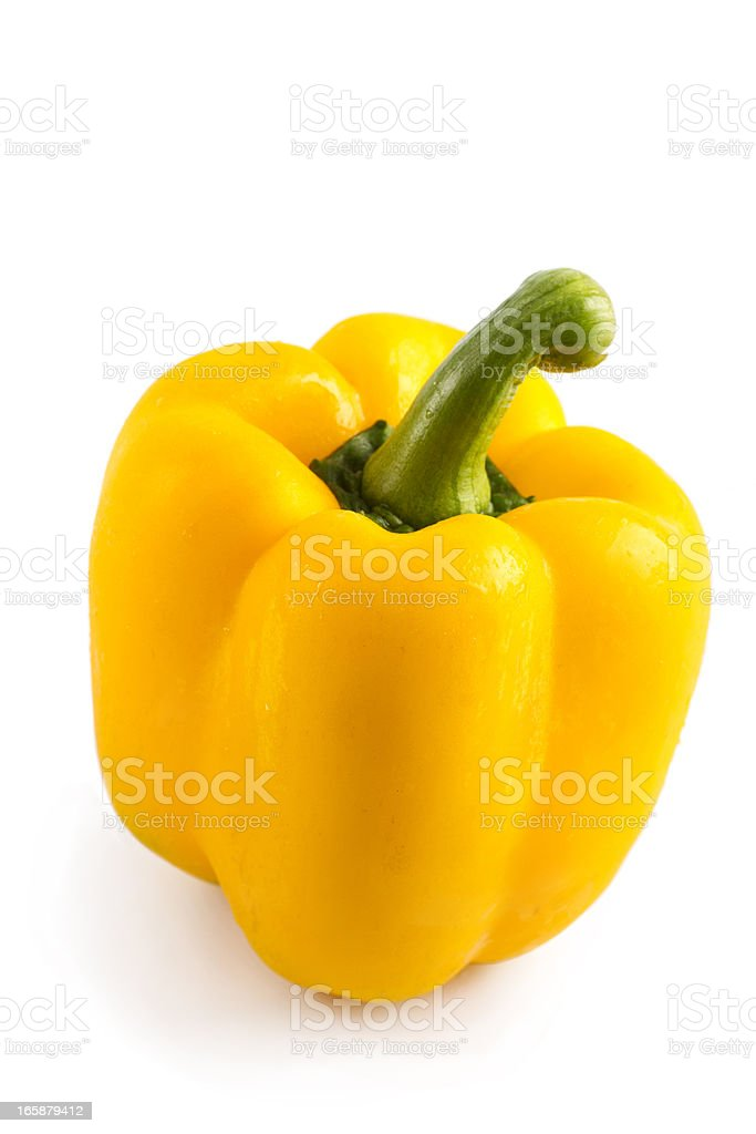Yellow bell pepper isolated on white with clipping path stock photo